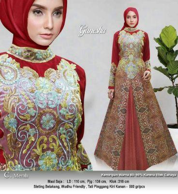baju maxi dress muslimah merah
