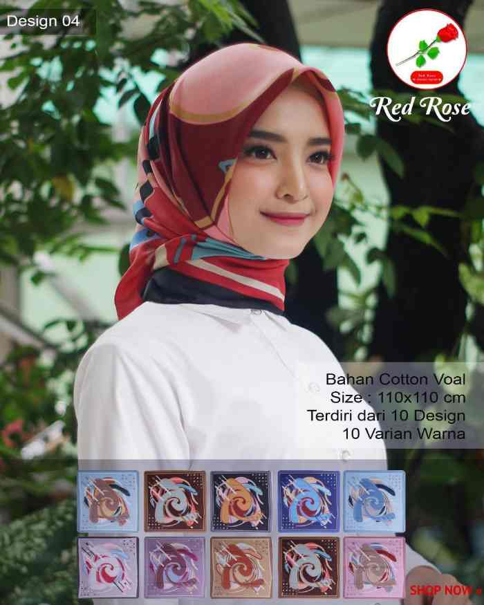 jilbab segi empat red rose