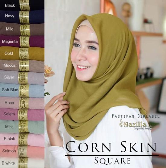 Jilbab SegiEmpat Polos Corn Skin Square